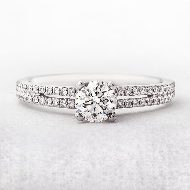 Split Band Diamond Solitaire Engagement Ring