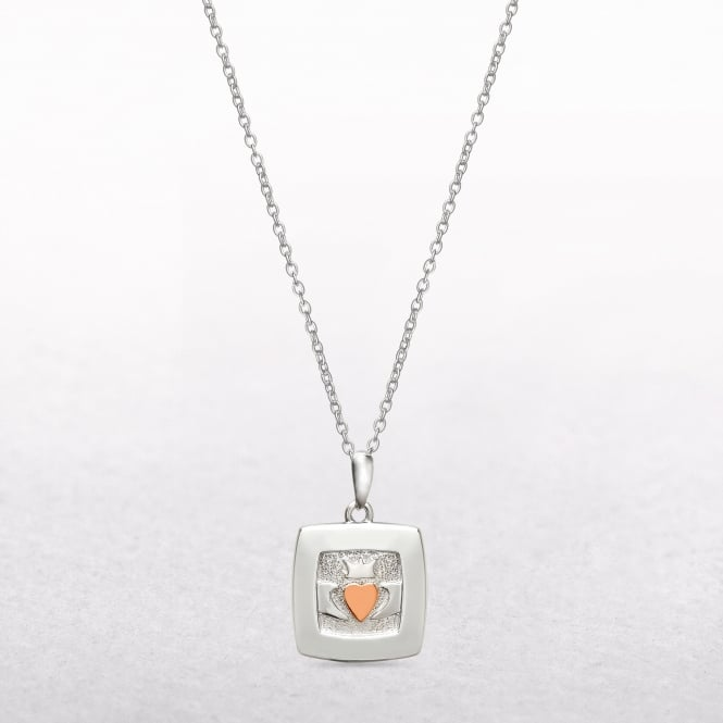 Square Claddagh Sterling Silver & Rose Gold House of Lor Pendant
