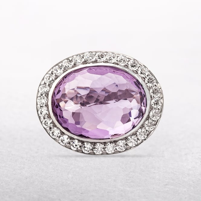 Sterling Silver Amethyst Ring With Cubic Zirconia Halo