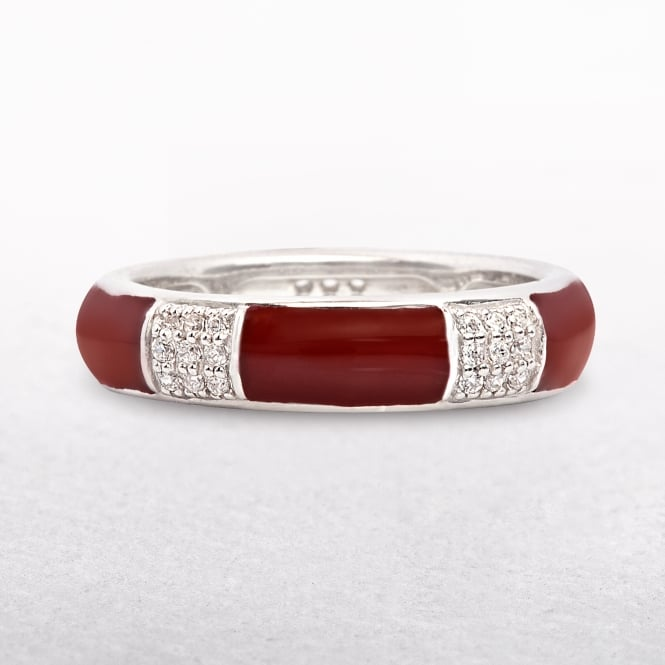 Sterling Silver Cubic Zircona Red Enamel Ring