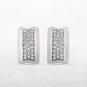 Sterling Silver Cuff Style Earrings With Cubic Zirconias