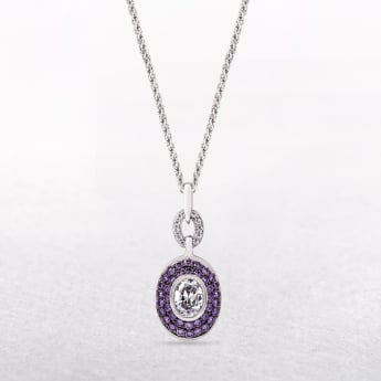Sterling Silver Oval Pendant with Amethyst & Cubic Zirconia