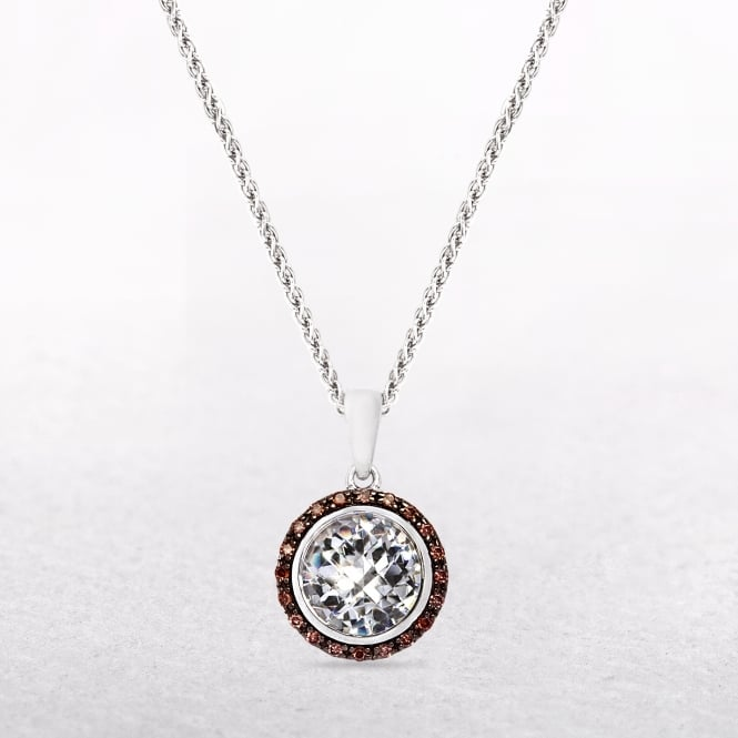 Sterling Silver Pendant with Brown & White Coloured Cubic Zirconias