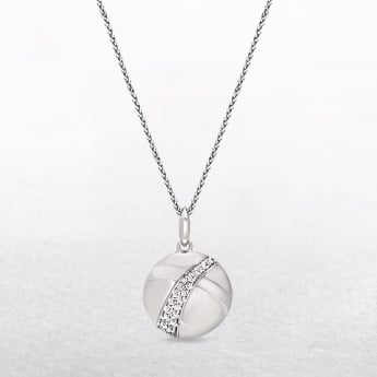 Sterling Silver Pendant with Cubic Zirconias & Smooth Sweeping Contours