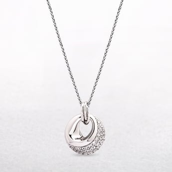Sterling Silver Pendant with Cut Out Detail & Cubic Zirconias
