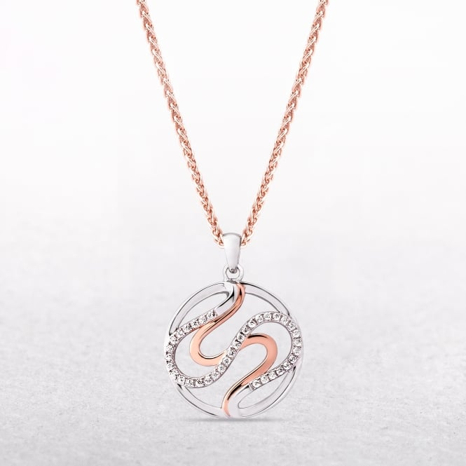 Sterling Silver & Rose Gold Circular Necklace with Cubic Zirconias