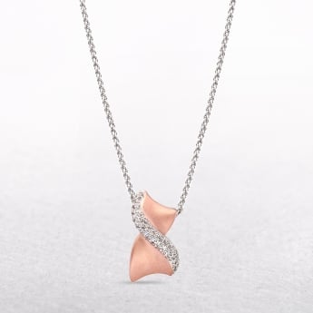 Sterling Silver & Rose Gold Curve Necklace With Cubic Zirconia