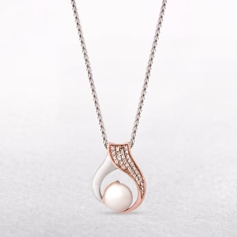 Sterling Silver & Rose Gold Pendant with Pearl & Cubic Zirconias