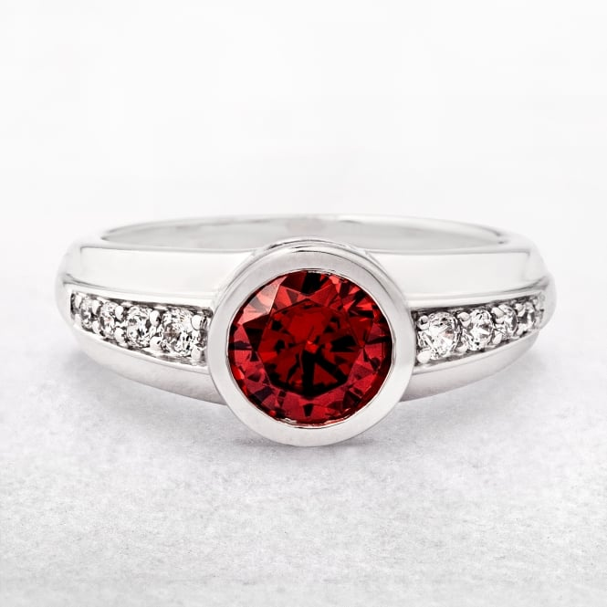Sterling Silver Round Red Stone Ring with Cubic Zirconias