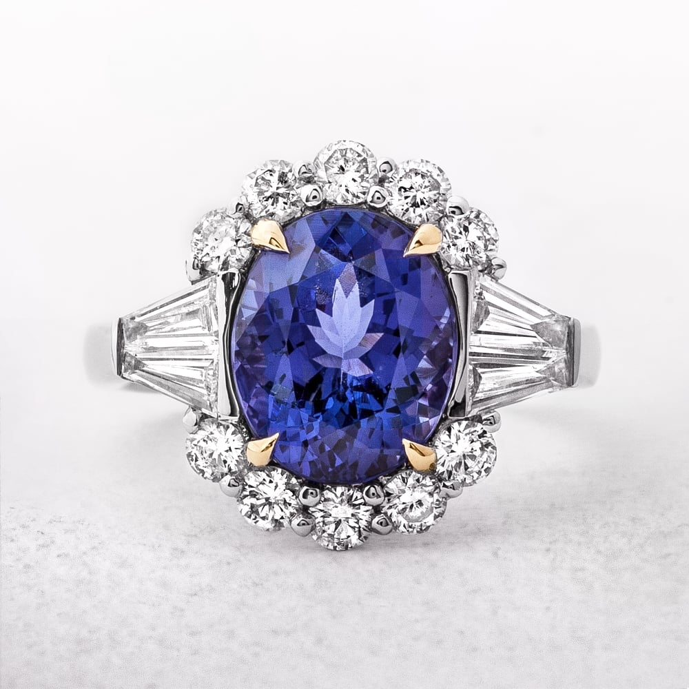 engagement ring shoulder cut diamond tanzanite set rings berrys oval platinum image