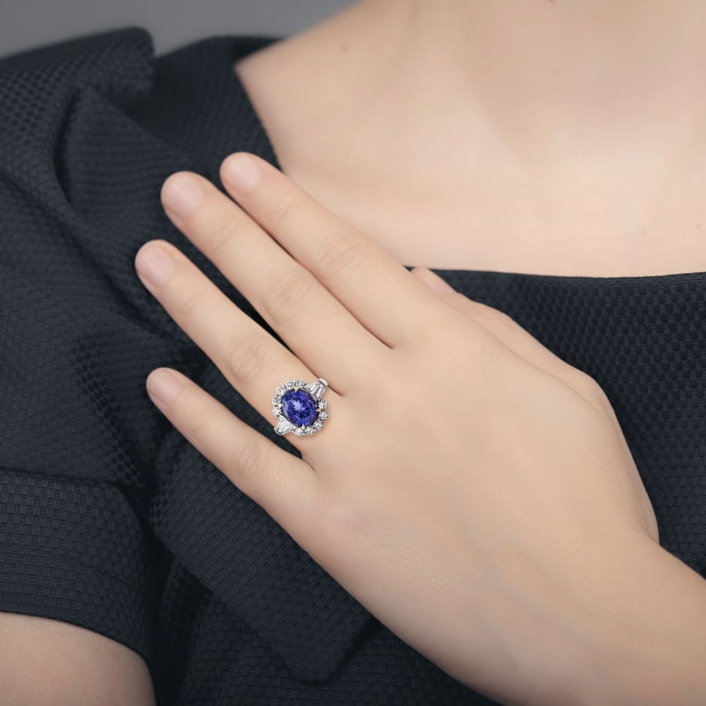 rings wedding tanzanite diamond engagement ring matching cushion set