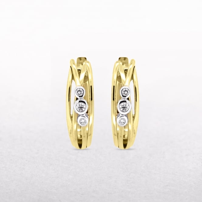 Three Diamond Set Curved Cuff Gold Earrings