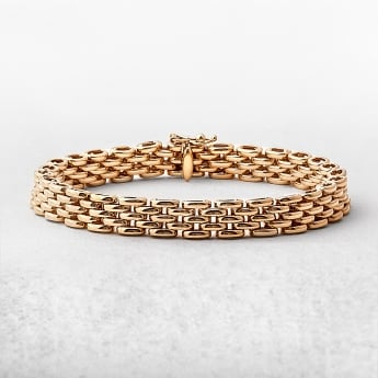 Three Row Brick Yellow Gold Link Bracelet