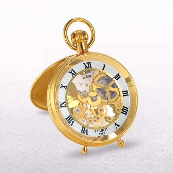 Tissot Skeleton Gold Plated Stand Alone Pocket Watch