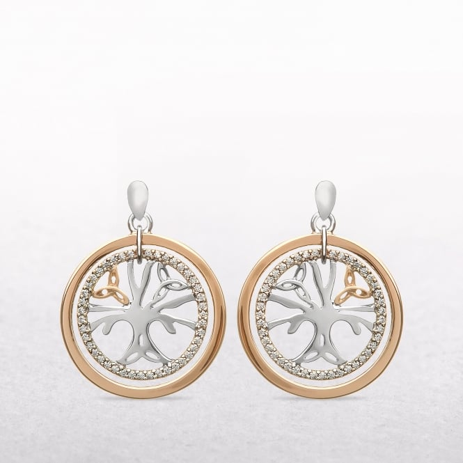 Tree of Life Cubic Zircona Rose Gold & Silver House of Lor Earrings