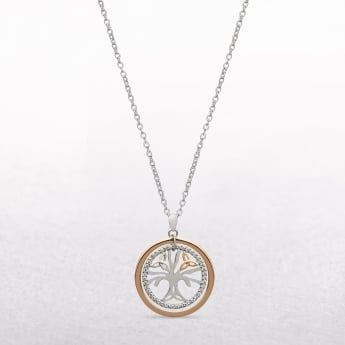 Tree of Life Cubic Zircona Rose Gold & Silver House of Lor Pendant