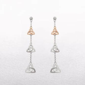 Trinity Knot & Cubic Zircona Irish Rose Gold Drop Earrings