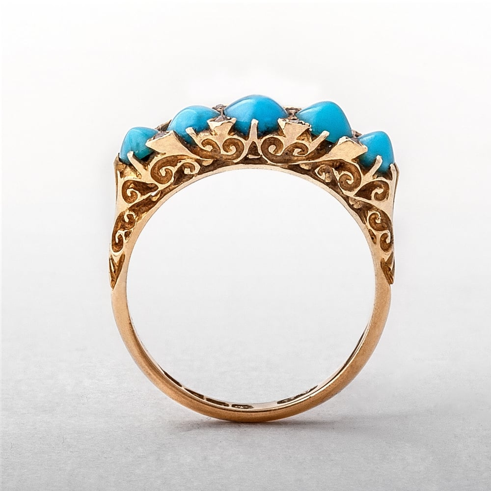 Turquoise Five Stone 18ct Gold Antique Diamond Ring