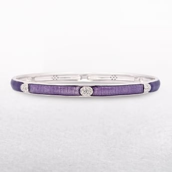 Valdo Zeni Sterling Silver Purple Enamel Bangle