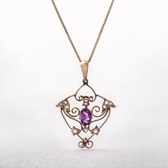 Buy antique pendants brereton jewellers victorian amethyst 9ct yellow gold pendant aloadofball Images