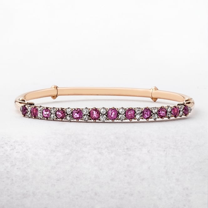 Victorian Ruby & Diamond Bangle with Hairclip Fitting