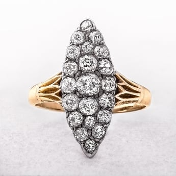 Vintage Diamond 1.20ct Gold Cluster Ring