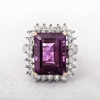 Vintage Diamond and Amethyst Cluster Ring