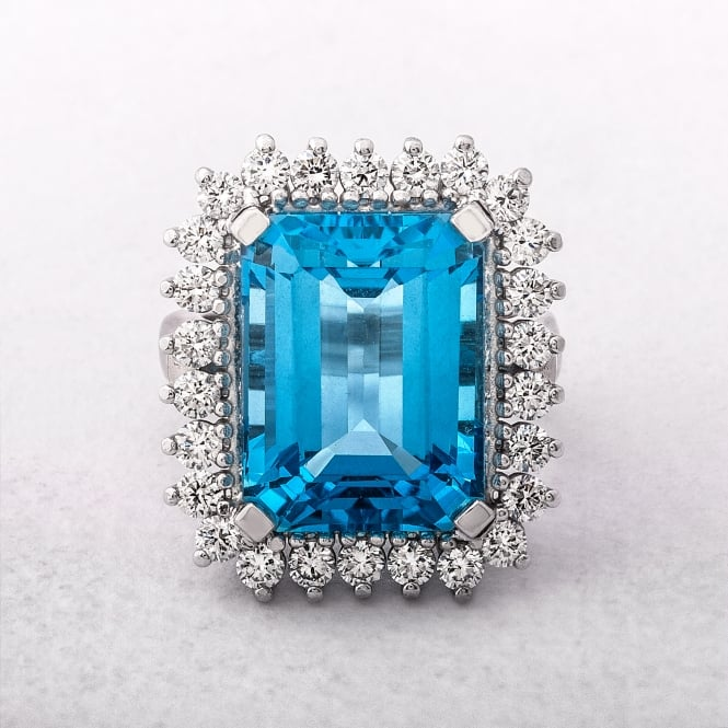 Vintage Diamond and Blue Topaz Ring