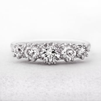 Vintage Five Stone Diamond Ring in White Gold