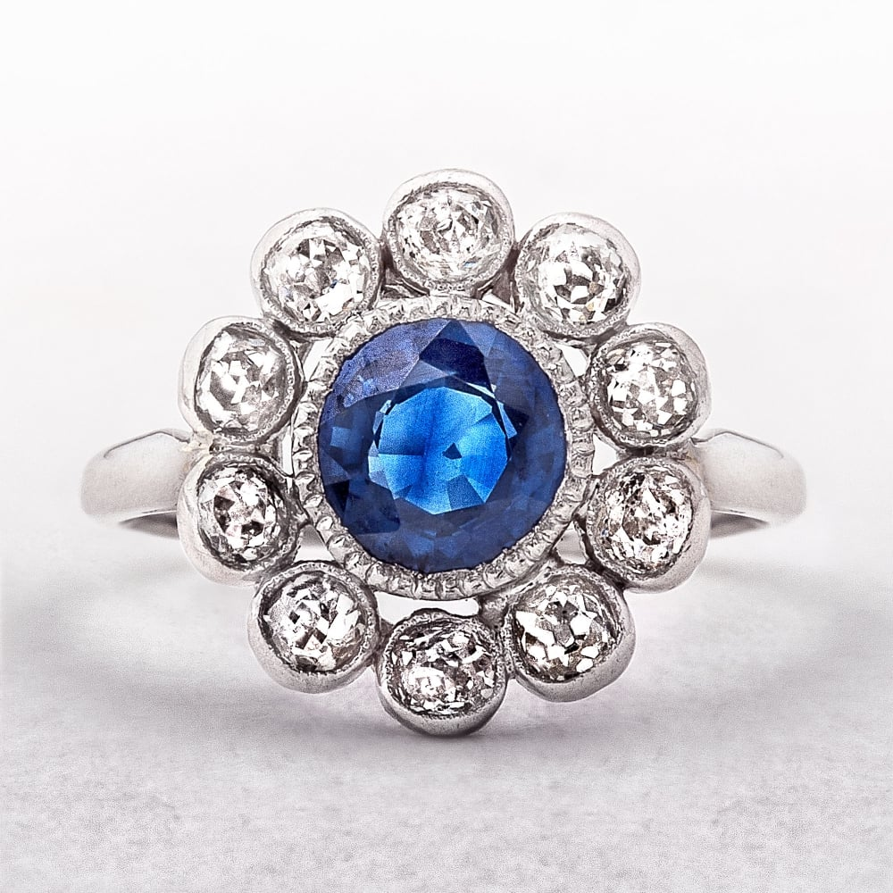 Vintage Sapphire Amp Diamond Flower Cluster Ring