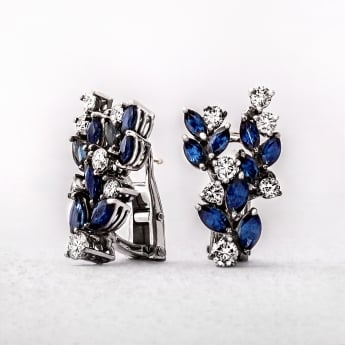 Vintage White Gold Sapphire & Diamond Earrings