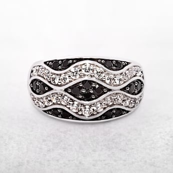 Wavy Tidal Style Silver Ring with Black & White Cubic Zirconias