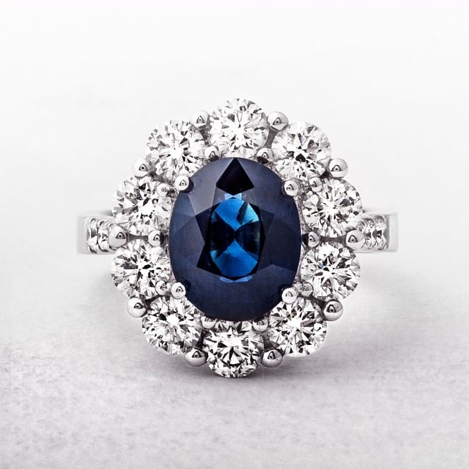 White Gold 3.37ct Sapphire & 2.25ct Diamond Cluster Ring