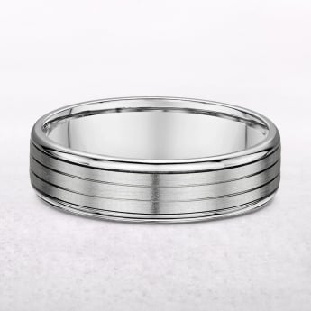 White Gold 6mm Gents Wedding Band