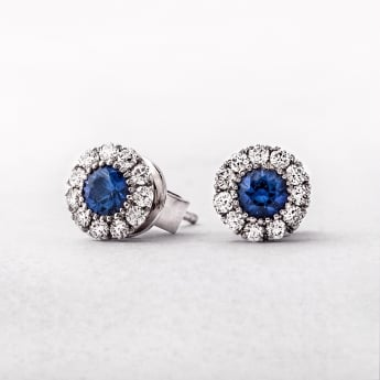 White Gold Diamond & Sapphire Stud Earrings