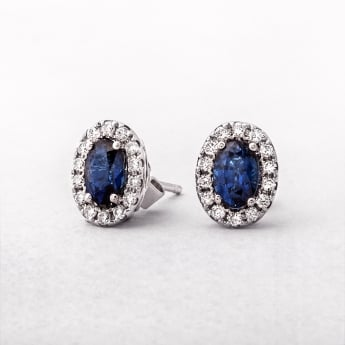 White Gold Oval Shape Sapphire & Diamond Cluster Stud Earrings