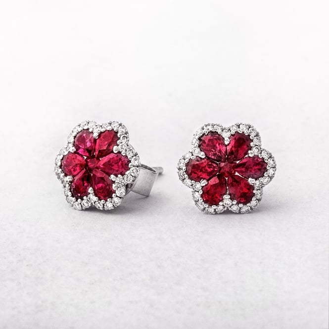 White Gold Pear Shape Ruby & Diamond Cluster Studs