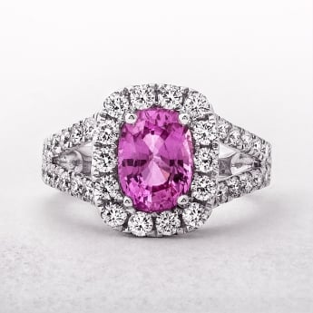 White Gold Pink Sapphire & Diamond Cluster Ring