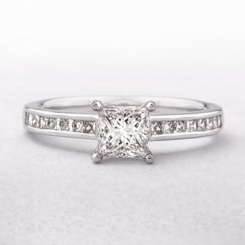 White Gold Princess Cut Solitaire Diamond Ring