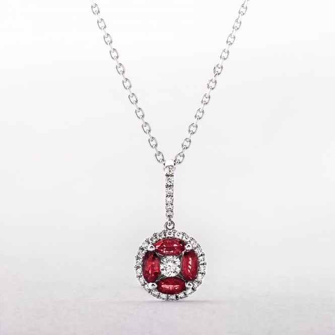 White Gold Ruby & Diamond Round Pendant