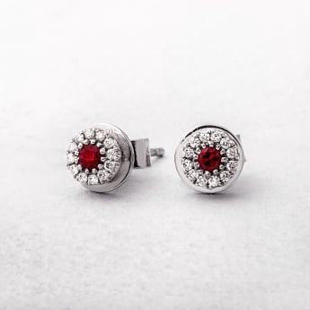 White Gold Ruby & Diamond Stud Earrings