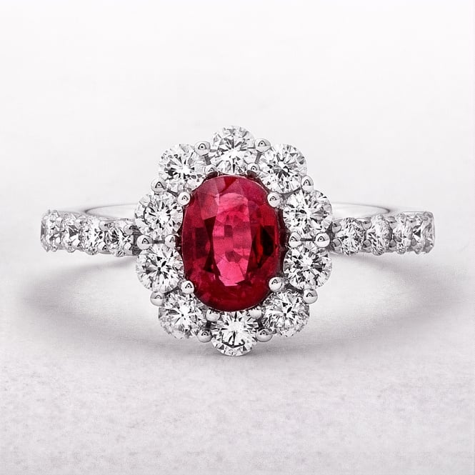 White Gold Ruby & Oval Diamond Cluster Ring