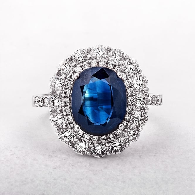 White Gold Sapphire & Diamond Cluster Ring
