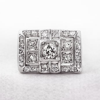 White Gold Square Diamond Cluster Ring