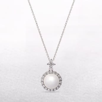 White Pearl Pendant with Cubic Zirconia Bail Detail