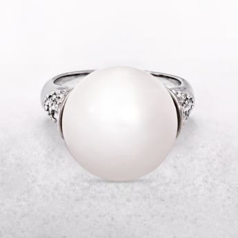 White Round Pearl Ring with Silver Band & Shoulder Detail