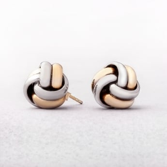 White & Yellow Gold Knot Earrings