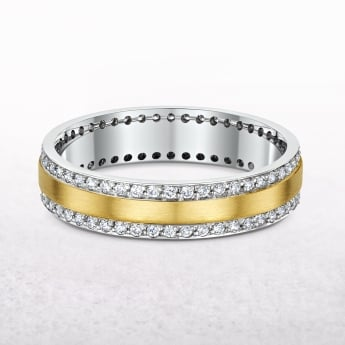 White & Yellow Gold with Diamond Set Wedding Band