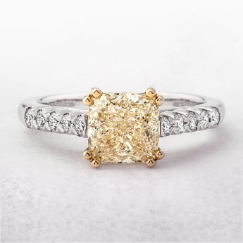 Yellow Diamond Cushion Solitaire Castel 18ct Ring