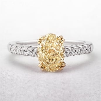 Yellow Diamond Oval Solitaire Castel 18ct Ring
